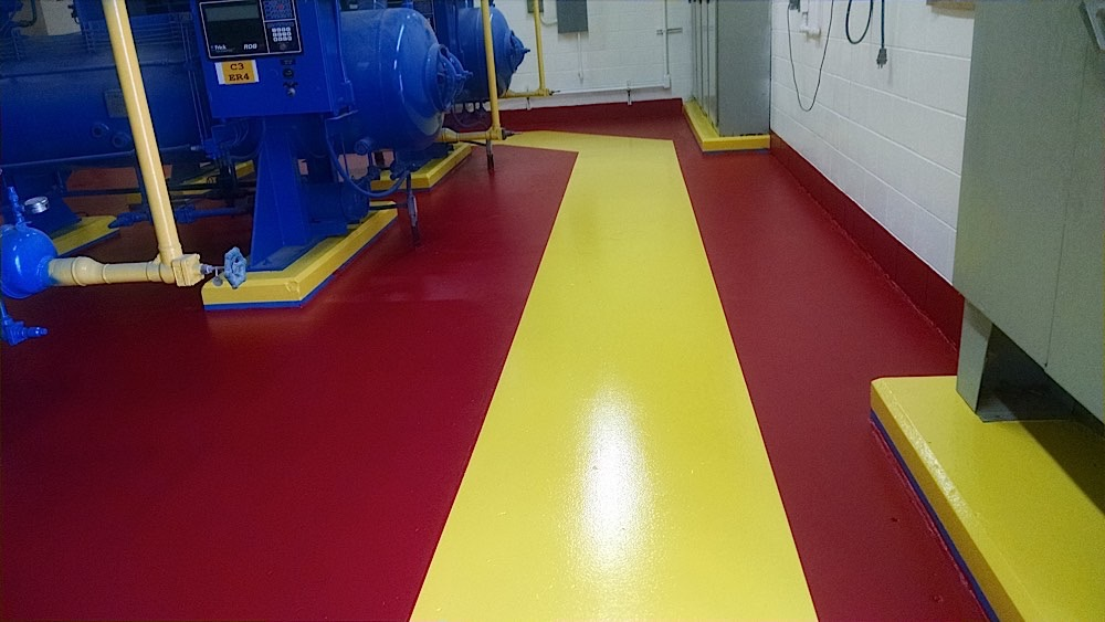 shows a Mechanical Room Floor, walkway and equipment that was painted at a Chicken plant in Enterprise AL