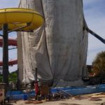 containment and sandblasting waterslide structure at Gulf Islands Waterpark Gulfport MS