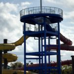 Shows a waterslide structure that had been sandblasted and painted.
