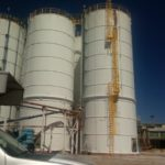 Bolt together silos painted in Greenville MS
